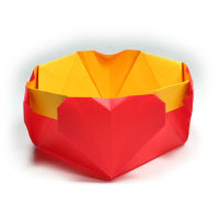 four-heart origami box