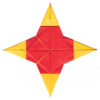 four-heart origami star