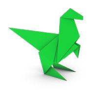 origami dinosaurio para los niños