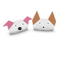 perro y el gato de origami para niños
