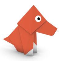 origami perro para los niños
