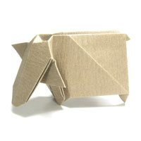 standing origami cow