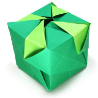 open origami cube with pattern