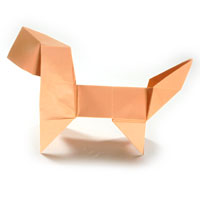 standing origami puppy dog