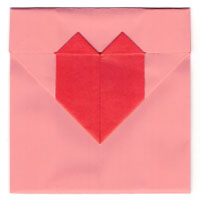 heart origami envelope