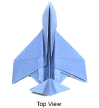 top view of simple origami airplane