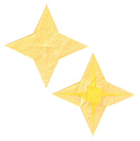 2d four-pointed origami paper star