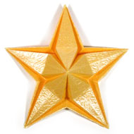 embossed five-pointed origami paper star