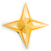 embossed four-pointed origami paper star