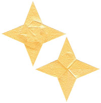 seashell four-pointed origami paper star