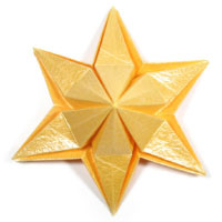 embossed six-pointed origami paper star