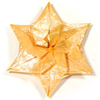 six-pointed spiral origami paper star