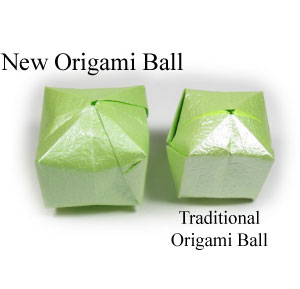 new origami ball and traditonal origami ball