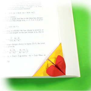 bottom-corner heart origami bookmark examle