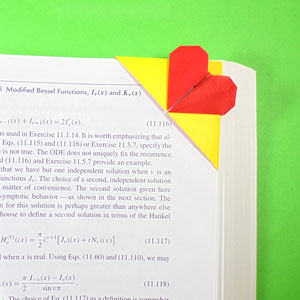top-corner heart origami bookmark