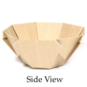 side view of 3D origami bowl