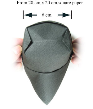 top view of traditional origami cap