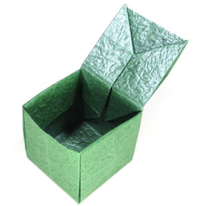 Origami Cube With A Hinged Top