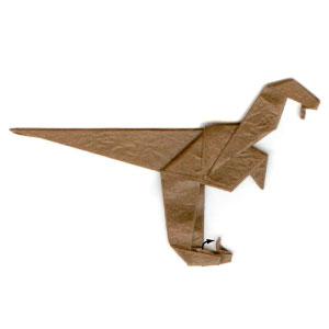 Green Velociraptor Dinosaur Of Origami Stock Image - Image of ... | 300x300
