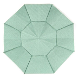 top view of octagon origami dish