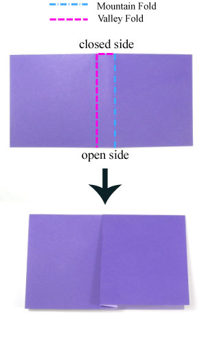 crimp-fold in origami: front side of paper