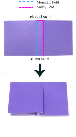 crimp-fold in origami: back side of paper