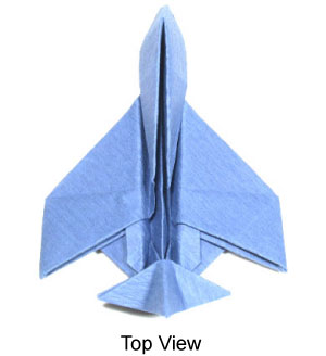 Top View Of Origami Jet Plane
