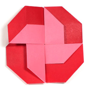 front view of pinwheel origami letter II