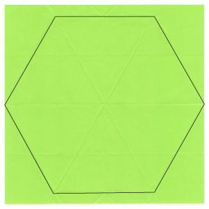 regular hexagon from square paper