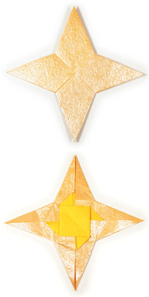 four-pointed origami paper star