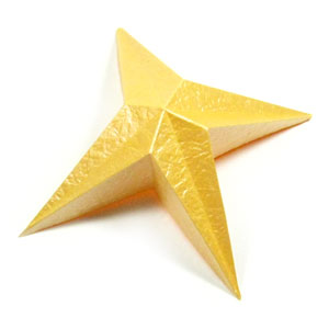 four-pointed easy embossed origami paper star
