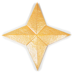four-pointed seashell origami star back