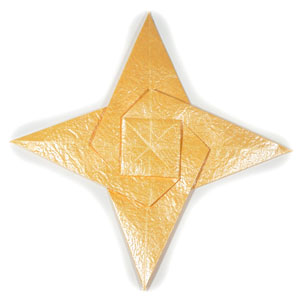 four-pointed seashell origami star front
