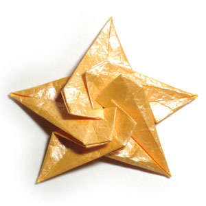five-pointed spiral origami paper star