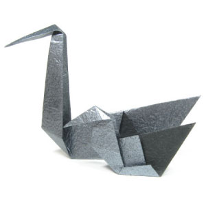 traditional origami baby swan (cygnet) with mother swan